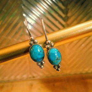 Oval Turquoise sterling drop vintage earrings